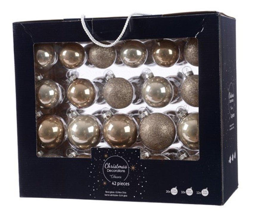 Kaemingk Weihnachtskugel-Mix 7/6/5cm 42 Stück Glas cashmere leinen - Pic 1