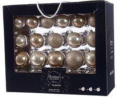 Kaemingk Weihnachtskugel-Mix 7/6/5cm 42 Stück Glas cashmere leinen