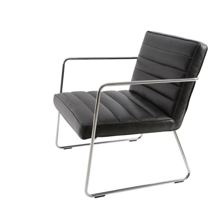 Kaemingk Lounge Stuhl Leder Chrom Schwarz