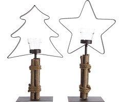 Kaemingk Teelichthalter 2er Set Baum Stern Eisen/Holz 44cm