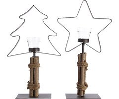 Kaemingk Teelichthalter 2er Set Baum Stern Eisen/Holz 32cm