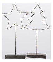 Kaemingk Metallfiguren Set Baum und Stern 15 LED batteriebetrieben 53cm