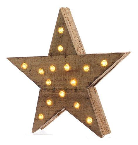 Kaemingk Leuchtstern Holz 15 LED 30 x 39cm batteriebetrieben braun