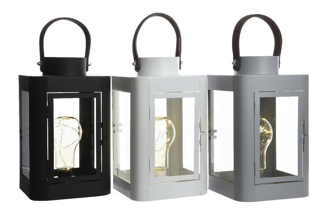 Kaemingk Laterne mit Leuchtbirne 10 Micro LED 16 x 26cm weiß - Pic 2