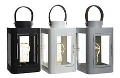 Kaemingk Laterne mit Leuchtbirne 10 Micro LED 16 x 26cm weiß