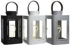 Kaemingk Laterne mit Leuchtbirne 10 Micro LED 16 x 26cm grau