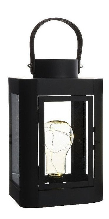 Kaemingk Laterne mit Leuchtbirne 10 Micro LED 16 x 26cm schwarz - Pic 1
