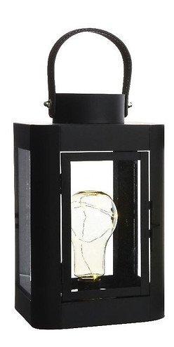Kaemingk Laterne mit Leuchtbirne 10 Micro LED 16 x 26cm schwarz