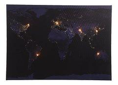 Kaemingk LED Bild Weltkarte 6 LED 50 x 70cm batteriebetrieben