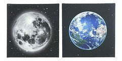 Kaemingk LED Bilder Erde Mond 2er Set 4/4 LED 30 x 30cm batteriebetrieben mit Timer
