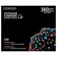 Kaemingk Lichterkette 360 LED bunt Blinkfunktion 27 m außen schwarz