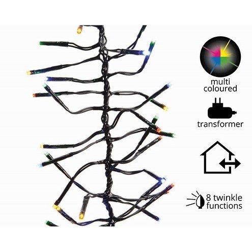 Kaemingk Cluster Lichterkette 1512 LED bunt 13,5 m außen schwarz