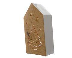 Kaemingk Windlicht Dolomit Keramik Haus 25cm holzoptik weiß