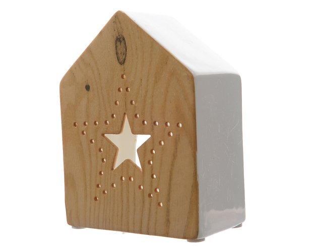 Kaemingk Windlicht Dolomit Keramikhaus 15cm Holzoptik weiß