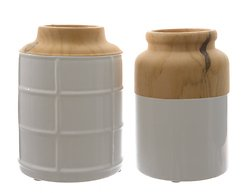 Kaemingk Vase Dolomit 2er Set Keramik 20cm Holzoptik weiß