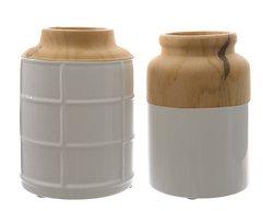 Kaemingk Vase Dolomit 2er Set Keramik 16,5cm Holzoptik weiß