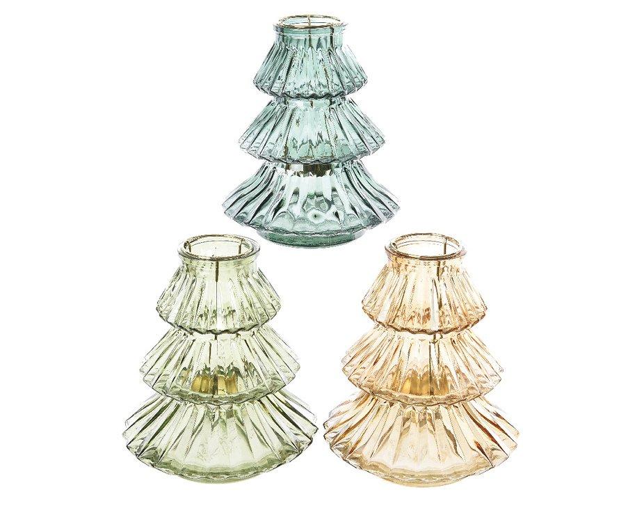 Kaemingk Windlicht Glas Tanne blau 16x18cm - Pic 2