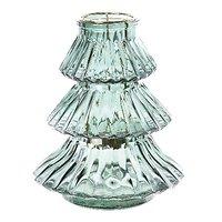 Kaemingk Windlicht Glas Tanne blau 16x18cm