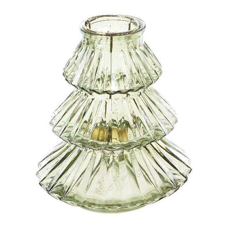 Kaemingk Windlicht Glas Tanne grün 16x18cm - Pic 1