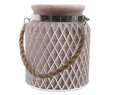 Kaemingk Glaswindlicht mit Griff 14 x 17cm taupe