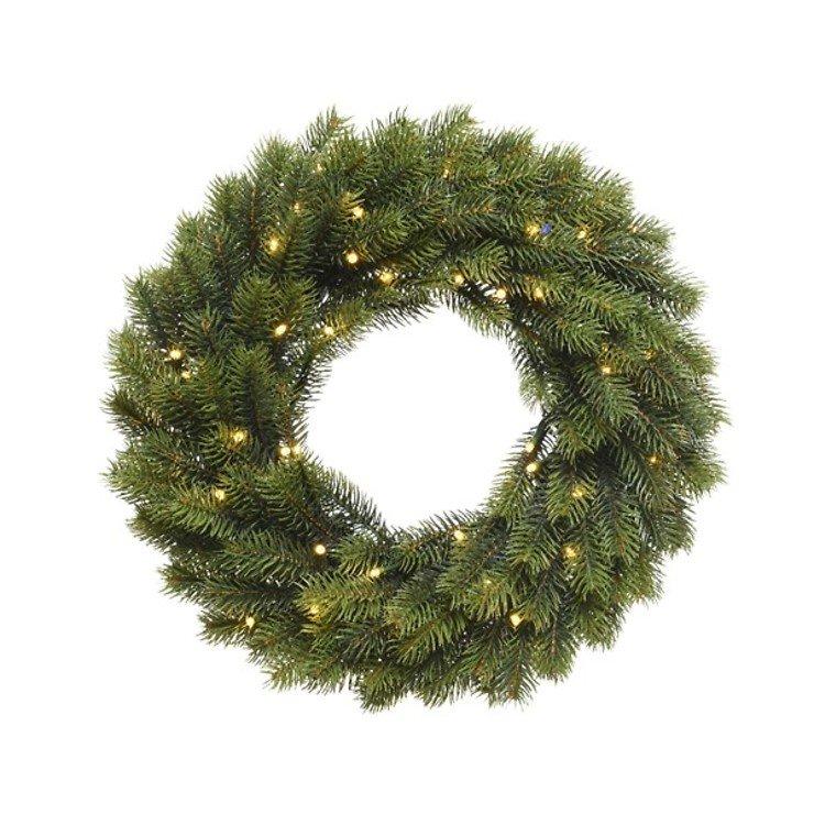 Kaemingk Weihnachtskranz Outdoor 49 LED warmweiß Batterie 40 cm grün - Pic 1
