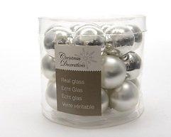 Kaemingk Weihnachtskugeln Mini 2,5cm Glas glanz/matt 24 Stück silber