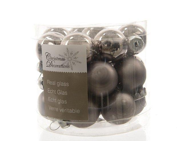 Kaemingk Weihnachtskugeln Mini 2,5cm Glas glanz/matt 24 Stück grau