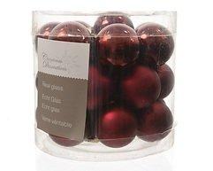 Kaemingk Weihnachtskugeln Mini 2,5cm Glas glanz/matt 24 Stück dunkelrot