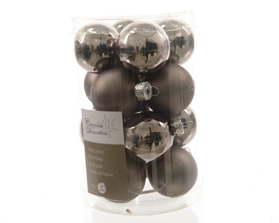 Kaemingk weihnachtskugeln mini 3 5cm glas glanz matt 16 for Weihnachtskugeln glas grau