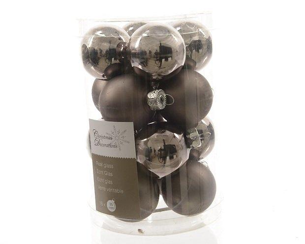 Kaemingk Weihnachtskugeln Mini 3,5cm Glas glanz/matt 16 Stück grau