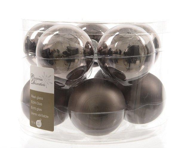 Kaemingk Weihnachtskugel 6cm Glas glanz/matt 10 Stück grau