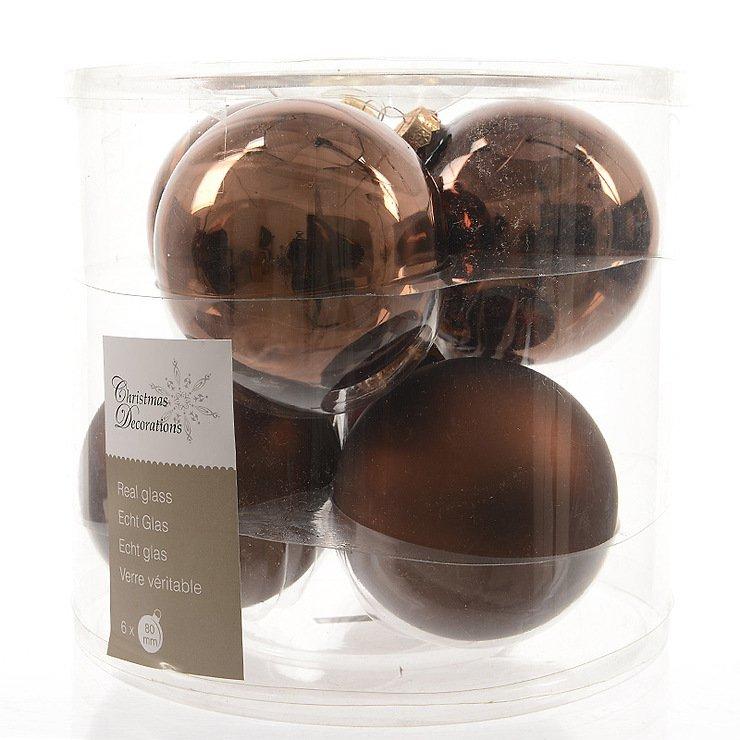 Kaemingk weihnachtskugel 8cm glas glanz matt 6 st ck for Weihnachtskugeln glas grau