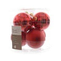 Kaemingk Weihnachtskugel 8cm Glas glanz/matt 6 Stück rot