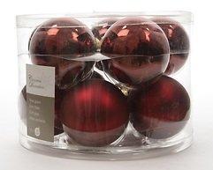 Kaemingk Weihnachtskugel 6cm Glas glanz/matt 10 Stück dunkelrot