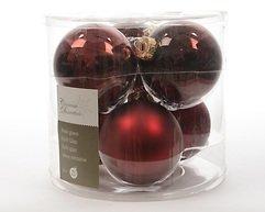 Kaemingk Weihnachtskugel 8cm Glas glanz/matt 6 Stück dunkelrot