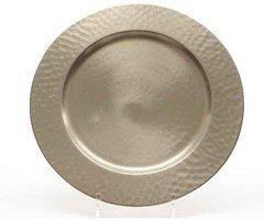 Kaemingk Kerzenteller Metall gehämmert 30cm silber matt