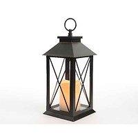 Kaemingk Laterne Kunststoff mit LED Kerze 34cm schwarz