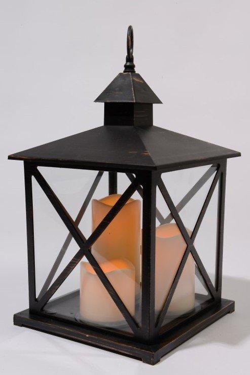 Kaemingk Laterne Kunststoff schwarz mit 3 LED Kerzen außen - Pic 1
