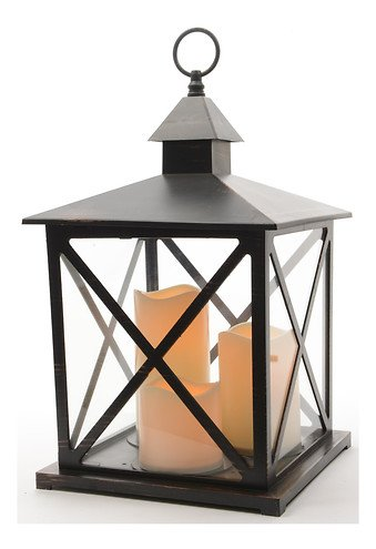 kaemingk laterne kunststoff schwarz mit 3 led kerzen au en kaufen. Black Bedroom Furniture Sets. Home Design Ideas
