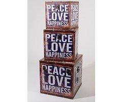Kaemingk Aufbewahrungstruhen 3er Set Peace Love Happiness