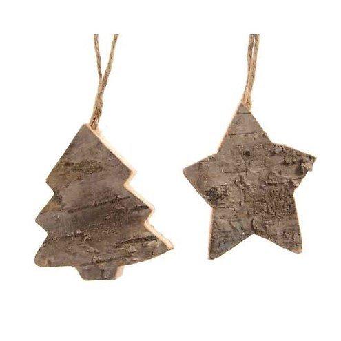 Kaemingk Weihnachtsanhänger Tanne/Stern 2er Set 6 cm Holz natur