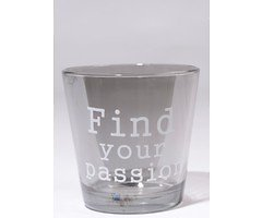 Kaemingk Windlicht Glas Find Your Passion grau