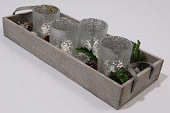 Kaemingk Glasteelichter weiß mit Holztablett