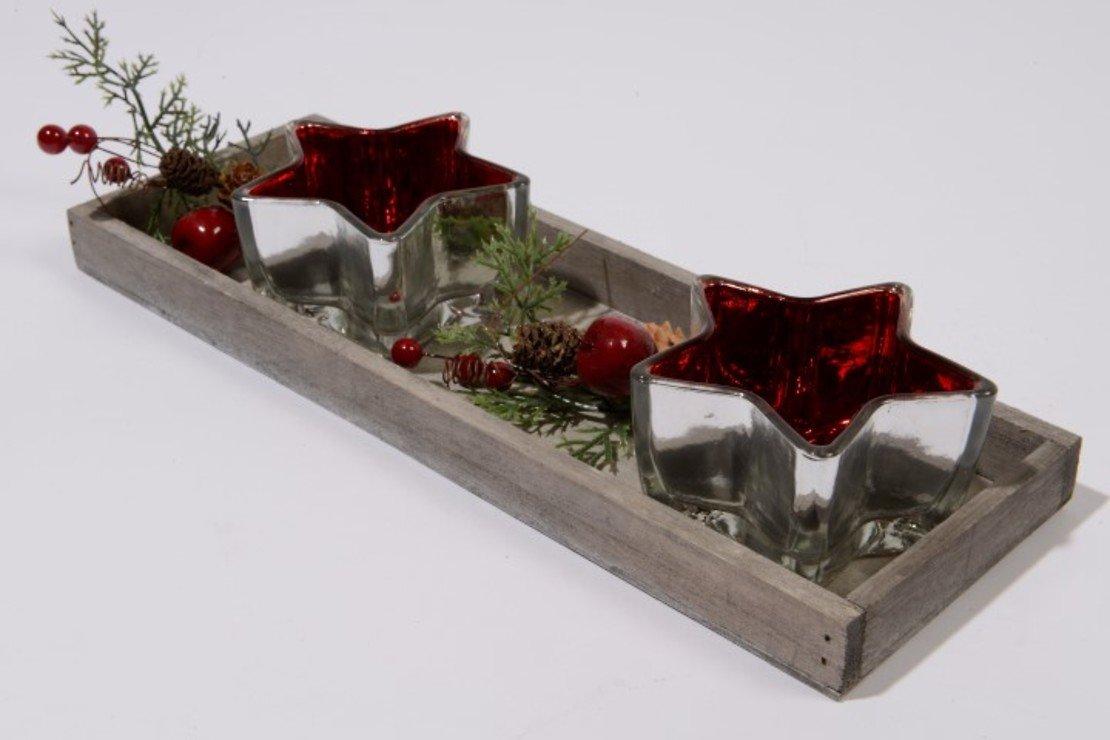 Kaemingk Teelichter Sterne rot mit Holzteller - Pic 1