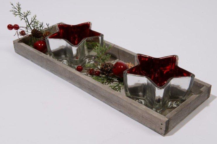 Kaemingk Teelichter Sterne rot mit Holzteller
