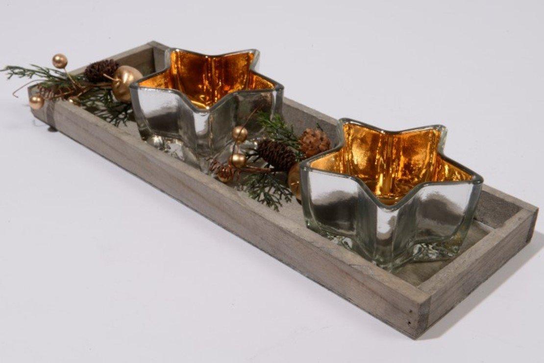 Kaemingk Teelichter Sterne gold mit Holzteller - Pic 1