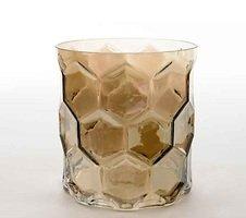 Kaemingk Windlicht Glas Diamantschliff 15cm grau
