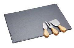 KitchenCraft Käsebrett Artesa Schiefer mit Messerset