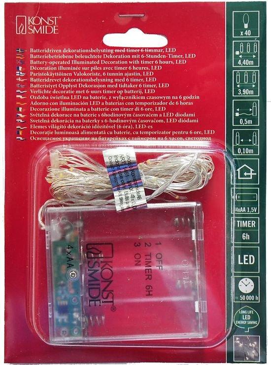 konstsmide lichterkette micro 40 led warmwei 3 9m innen silber batterie timer kaufen. Black Bedroom Furniture Sets. Home Design Ideas