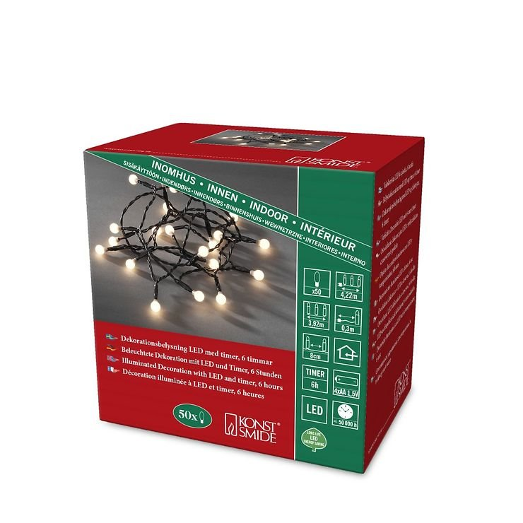 Konstsmide Lichterkette Globe 50 LED warmweiß 3,92m innen schwarz - Pic 3